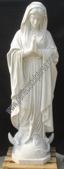 Life Size Garden Decoration Our Lady of Lourdes Marble Praying Virgin Mary Statue (SY-X1302)