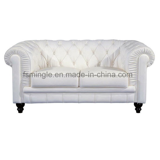 Chesterfield Solid Wood Frame Office Leather Sofa With Button