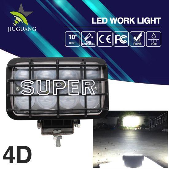 4D IP68 45W 4 X 6inch Wrangler Waterproof 12V LED Headlight for Jeep