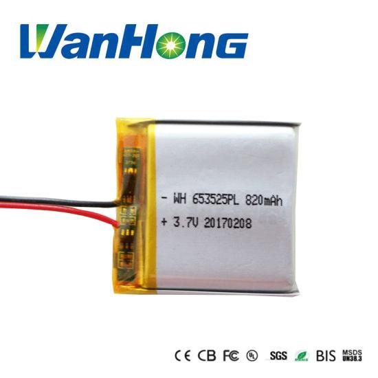 653525pl 820mAh Rechargeable Lithium Li-ion Li-Polymer Battery Pack for GPS/Speaker