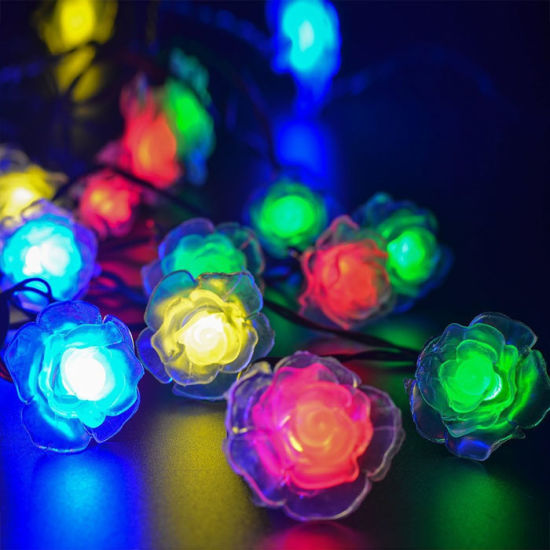Solar Powered Outdoor String Lights 50 LED Rose Flower Waterproof Fairy  Garden Outdoor Wedding Christmas Decorative Lights