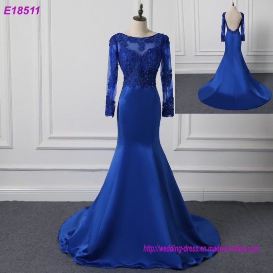 Long Sleeve Party Dresses Blue Plus Size Evening Dress