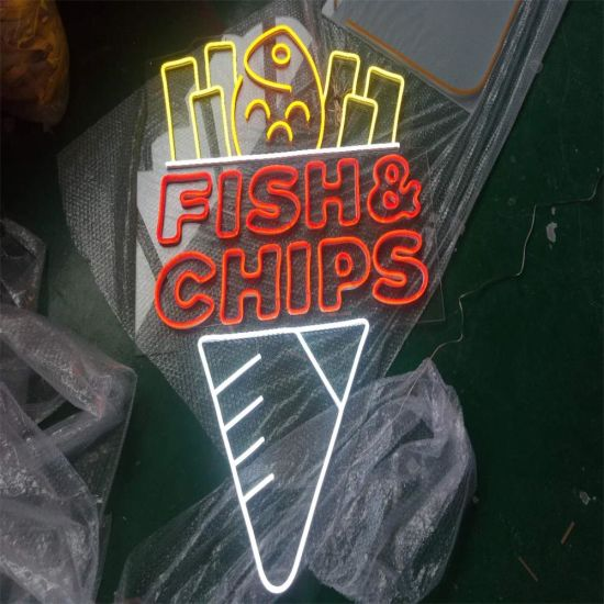 Fish and Chips LED Neon Sign Lights for Restaurant Decoration