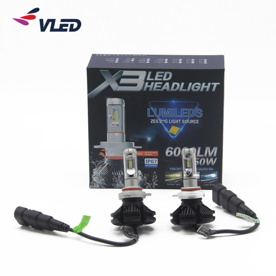 Set Very Well LED Headlight 6000lm H4 H7 H10 H11 9004 9005 9006 LED Headlightx3