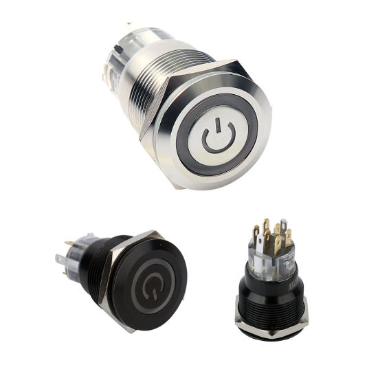 19mm Momentary LED Illuminated 12 Volt Waterproof Push Button Switch
