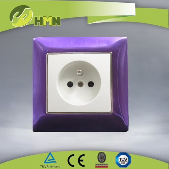 Ce/TUV/BV Certified European Standard Metal Zinc 1Gang purple French Socket