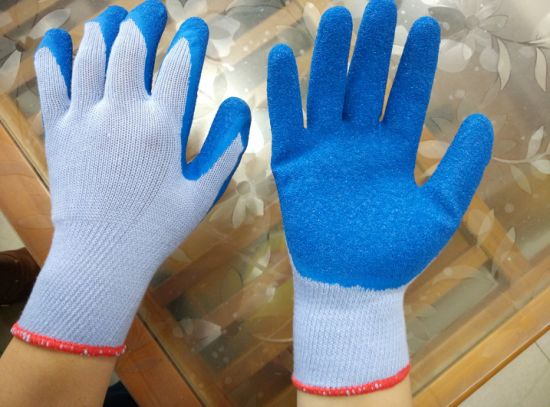 Safety Latex Rubber Palm Coated Safety Construction Work Gloves