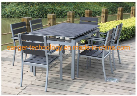 Outdoor Furniture Garden restaurant Furniture Dining Set, Elegant Garden Aluminum Dining Table and Rattan Chair, Dining Room Set