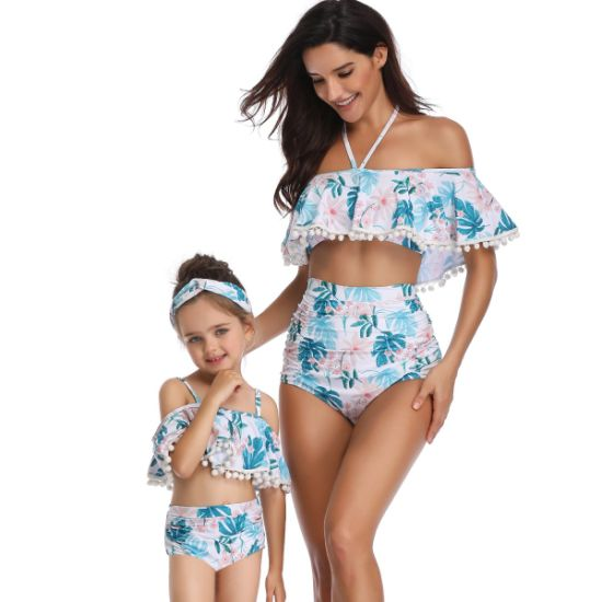 Cute Halter Swimwear Mommy and Me Bikini Bathing Swimsuit Beachwear Bikini