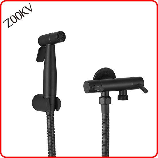 304 Stainless Steel Black Color Sanitary Bidet Shower Head with Adapter Bathroom Tap Bidet