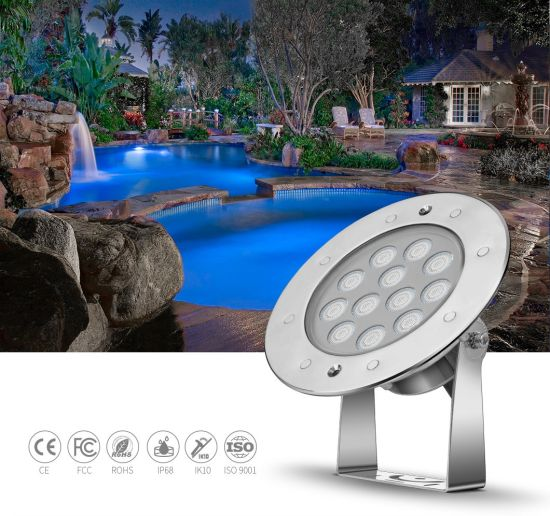 LED 18W RGB Colorful Underwater Lighting with Ik10 Tempered Glass Cover SS316L Body Material