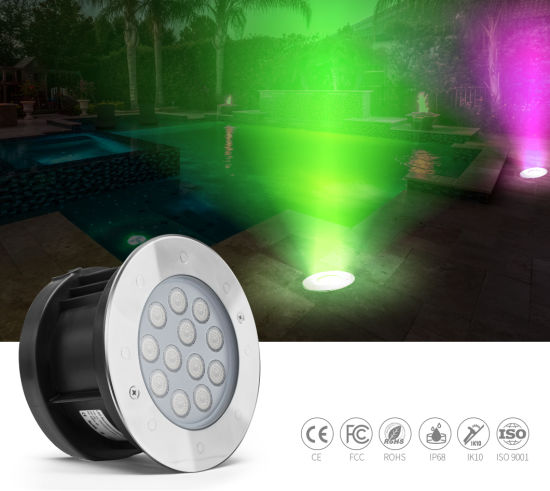 9W 24V DMX512 Control LED Underwater Light IP68 Waterproof SS316L Stainless Steel LED Ground Light Pool Lighting
