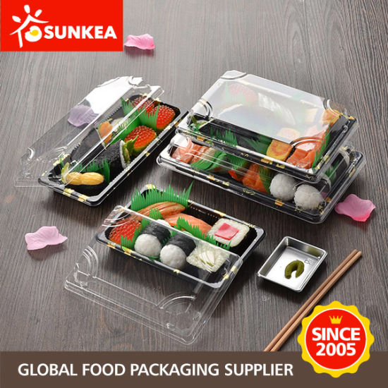 Disposable Plastic Sushi Packaging Container Box with Clear Lid pictures & photos