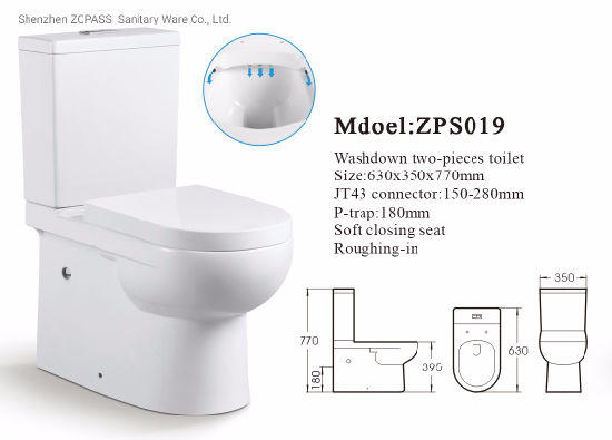 Zps Sanitary Ware Bathroom Two Piece Toilet P Trap Vitreous Big Toilet Bowl