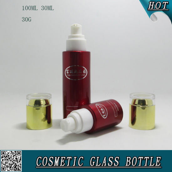 Red Color Spraying Cosmetic Glass Bottles and Cosmetic Glass Jars with Acrylic Lids pictures & photos