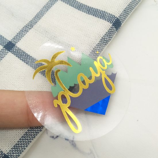 Self Adhesive Vinyl Clear Transparent Label Custom Printing Blue Gold Foil Sticker