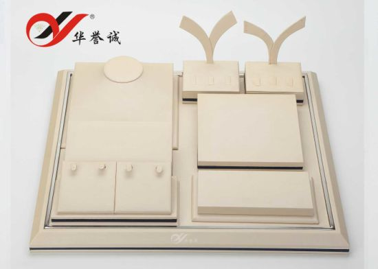 Beige Color PU Leather Jewelry Display Case pictures & photos