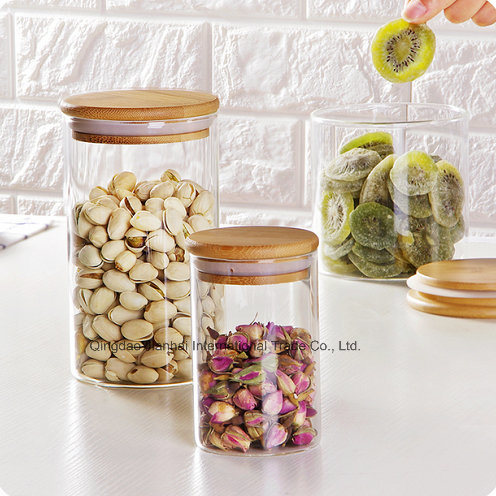 Round Shape Glass Food Storage Bottle with Bamboo Lid pictures & photos