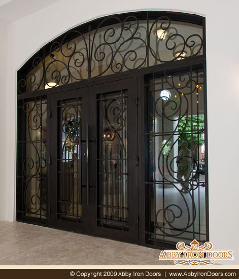 Superior Quality Wrought Iron Door With Transom And Sidelights