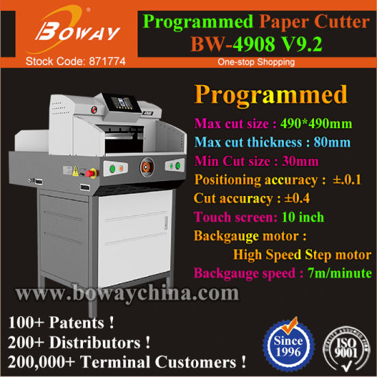 10′′ Touch Screen 80mm Thickness 490mm Electric Program Control Paper Sheets Cutter pictures & photos