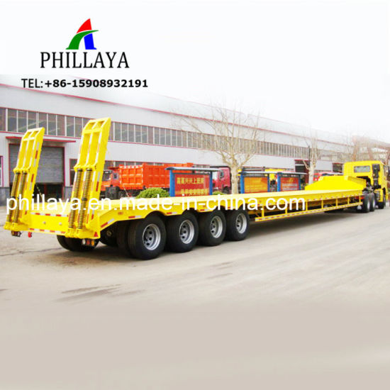 3 4 Axle Heavy Duty Low Flatbed Semi Truck Trailer for Sale pictures & photos