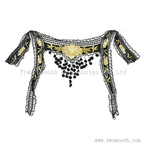 Fashion Black Embroidery Lace Collar Cotton Fabric Dress Garment Accessories