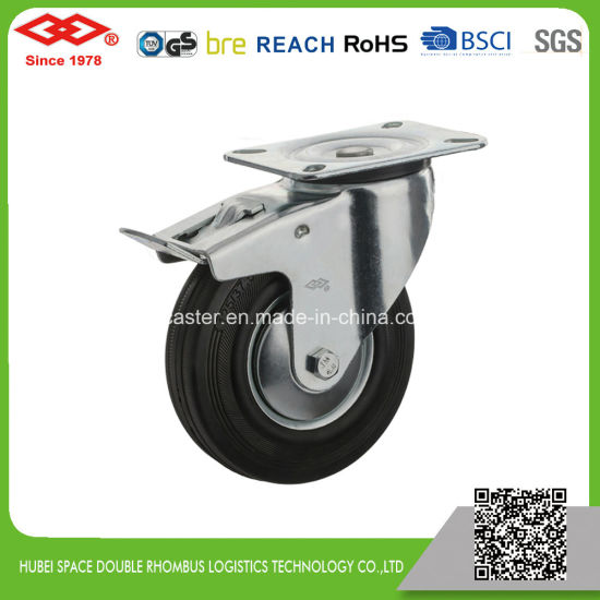 Industrial Swivel Plate Black Rubber Caster (P102-11D080X25S)