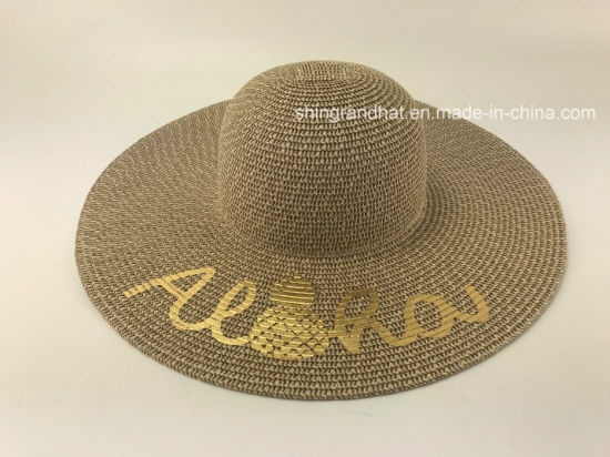 Mixed Paper Straw Braid with Golden Pineapple Printed Hat