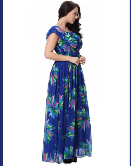 8c0edf6cd987 China Beautiful Floral Print Chiffon Summer Dress for Fat Woman ...