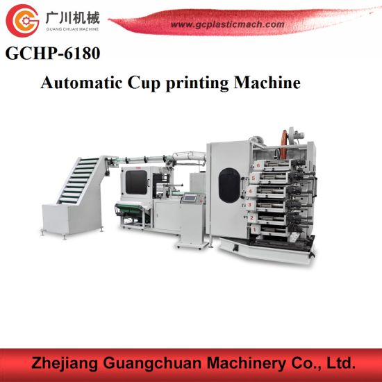 Dry Curved Offset Plastic Cup Printing Machine with New Type Packing Function