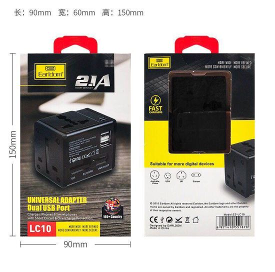 Earldom 6A Global Universal Power Adapter Dual USB Port Charger pictures & photos
