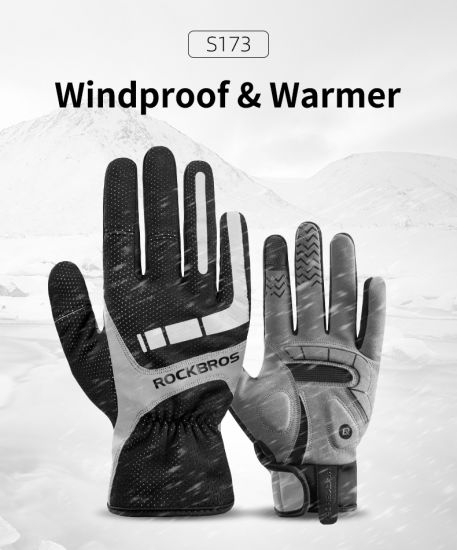 Rockbros Touch Screen Cycling Gloves Autumn Winter Thermal Windproof Bicycle Gloves Keep Warm Thick Sport Glove Bike Accessories
