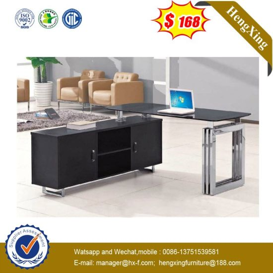 Modern L Shape Lab Hotel Staff Manager Executive Tempered Gl Office Desk Hx Gl025 Pictures