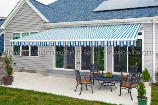 China Outdoor Patio Manual Operation Polyester Retractable Awnings For Sun Protection China Folding Awning And Window Awning Price