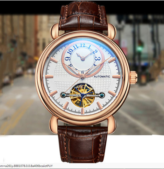 High Quality The Flywheel Dial Cool Men Watch Leather Strap Automaticl Machenical Wholesales pictures & photos