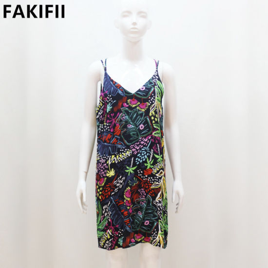 2021 Factory Price High End Quality V-Neck Backless Women Casual Floral Dress