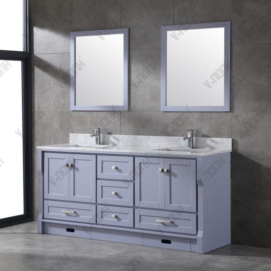 Double Sinks Grey Bathroom Cabinet