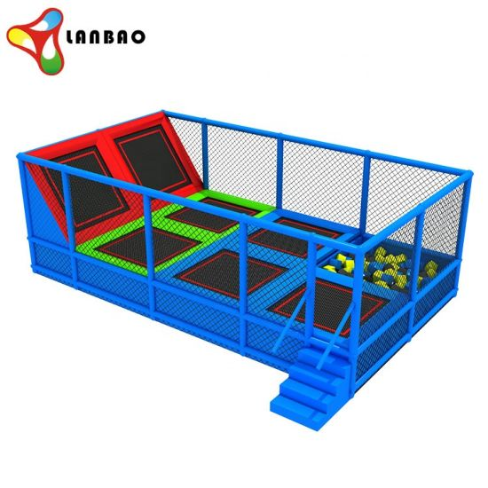 Kids Indoor Game Bungee Jumping Rectangular Trampoline Park with Foam Pit