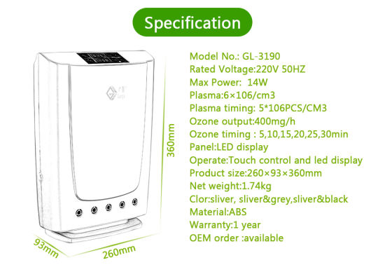 Home Ozone Disinfector 3190 with Plasma for Air and Food Sterilization pictures & photos