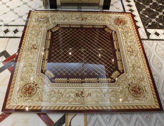 Polished Golden Living Room Crystal Porcelain Floor Carpet Tiles