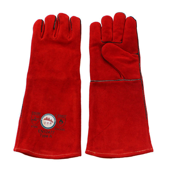 Red Long Cowhide Protective Hand Welding Gloves with Kevlar Sewn pictures & photos