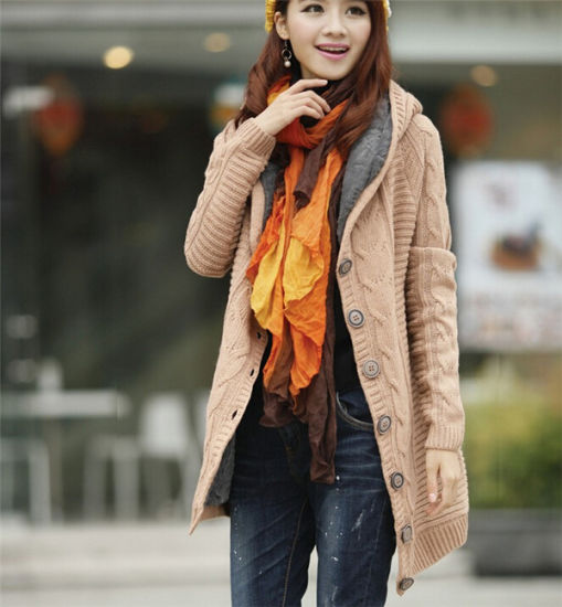 Winter Warmer Women Long Red Cardigan Knit Sweater Coat pictures & photos