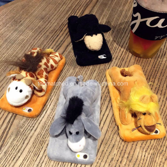 Cartoon 3D Fluffy Plush Fur Soft TPU Phone Case with Soft Tail Cover for iPhone 6 pictures & photos