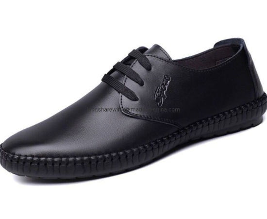 Men English Leather Shoes, Casual Shoes, Round-Headed PU Shoes, Strap-up Single Shoes pictures & photos
