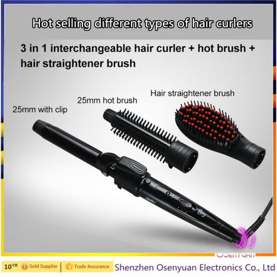 Wholesale Barber Supplies 3 in 1 Professional Ceramic Hair Straightener, Curler, Brush pictures & photos