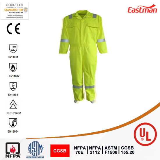 Flame Resistant Fluorescent Yellow Coverall with Reflective Tape
