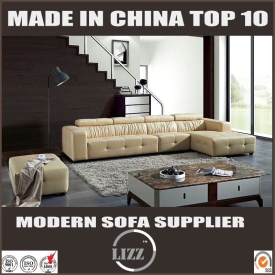 New Italian Leather Sectional Sofa with Adjustable Headrest