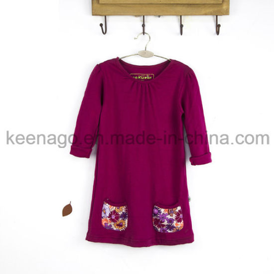 High Quality Organic Cotton Fashion Princess Long Sleeve Beads Girl Dress pictures & photos