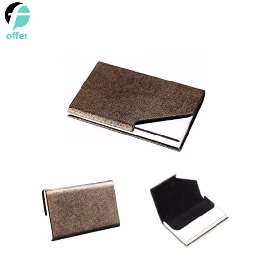 Stainless Steel Multi Card Case, Business Card Holder Wallet Credit Card ID Case/Holder for Men & Women, Business Card Case Luxury PU Leather