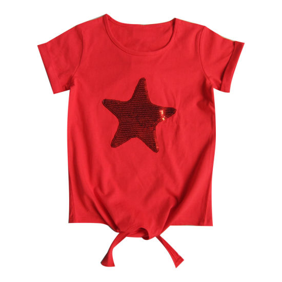 Children Clothes Star Sequins Embroidery Short Sleeve Girl T-Shirt